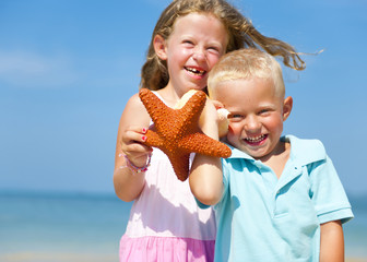 Brother and Sister Happiness Summer Beach Concept