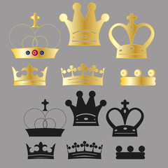 vector set of various crown for logo or icons