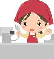 レジカウンターでスキャナーを持つ女性店員