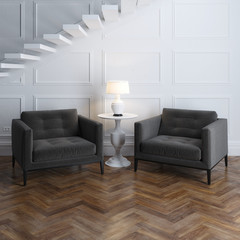Stylish classic armchairs in luxury interior with stairs
