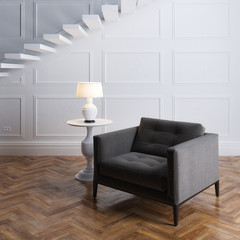 Luxury interior design with dark grey armchair and stairs
