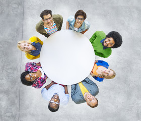 Aerial View Cheerful People Looking Up Conference Table