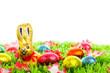 Ostern: Schokohase auf Wiese - Platz für Text