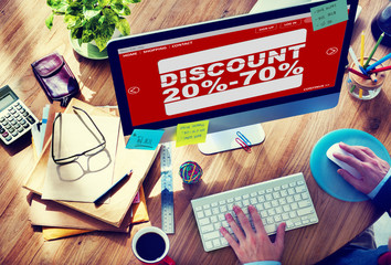 Man Working Computer E-Commerce Retail Promotion Sale Concept