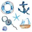 Nautical watercolor design elements - 75673548