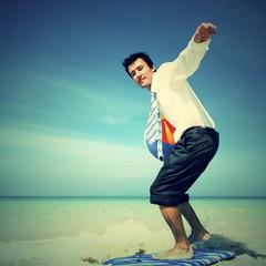 Businessman Surfing Outdoors Fun Recreational Concept