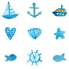 Simple nautical watercolor icons: anchor, ship, starfish