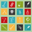 Barbershop objects haircutting tool icons