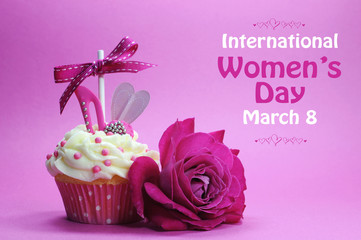 International Womens Day pink rose and greeting