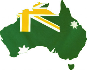Australian flag in unofficial green and gold colours.