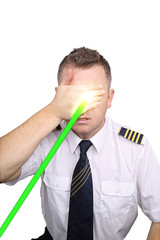 The pilot on a white background blinded by laser