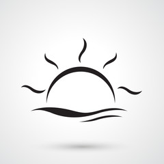 sunset and water waves vector