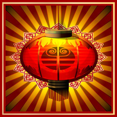 illustration: postcards Chinese lantern, a symbol of the goat