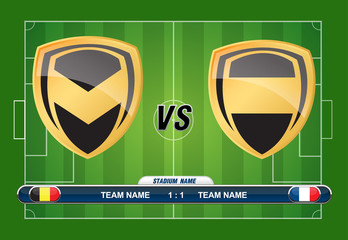 soccer playing field with match competition. Vector illustration