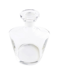 Empty glass decanter carafe isolated