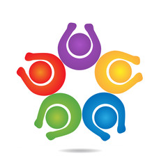 Teamwork hands up people logo vector