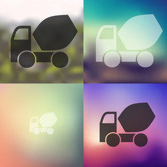 Cement Mixer icon on blurred background