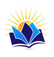 Book and sun logo vector icon