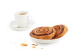 Cup of coffe and cinnamon buns
