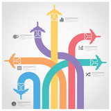 Business Journey With Global Airline Infographic Diagram