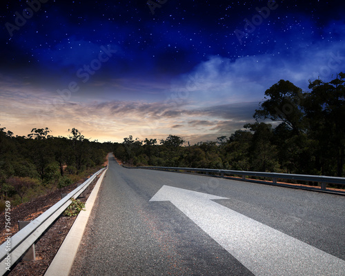 canvas print picture Arrow on road
