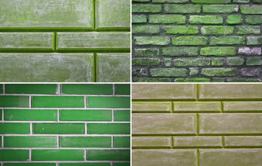green texture brick wall, set
