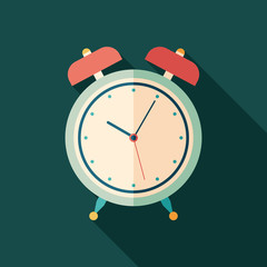 Retro alarm clock square icon with long shadows.