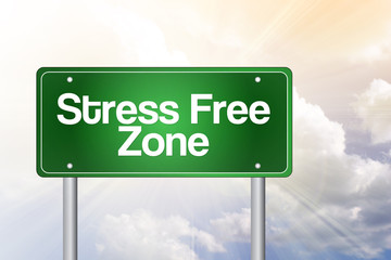Stress Free Zone Green Road Sign, business concept