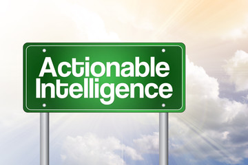 Actionable Intelligence Green Road Sign concept