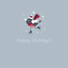 bird skates winter holidays cards