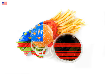 National American cuisine under the colors of the flag.