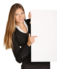 Business girl shows forefinger hand on the blank banner.