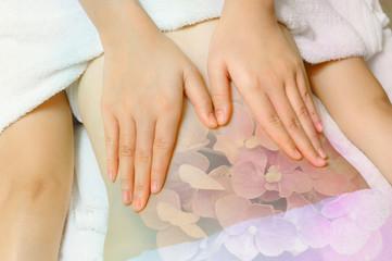 Woman having massage of body in the spa salon