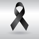Black ribbon vector mourning and melanoma sign poster
