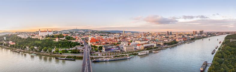 Sunset over City of Bratislava, Slovakia