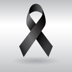 Black ribbon vector mourning and melanoma sign