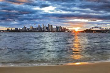 Sydney CBD Bridge Sun Horizon