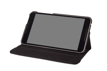8 inch tablet on a stand isolated on white background