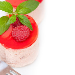 fresh raspberry cake mousse dessert