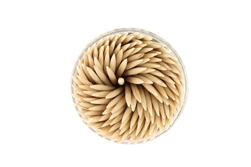 wooden toothpicks in a box on a white background