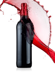 Red wine bottle splash