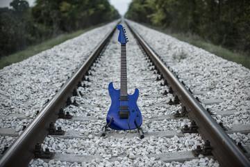 Beautiful blu electric guitar