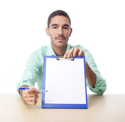 Confident guy with a folder