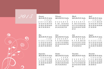 Happy New year 2015 calendar.
