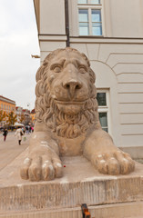 Lion sculpture of Presidential Palace in Warsaw, Poland