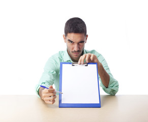 Challenging guy with a folder