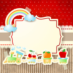 Train and rainbow over paper background