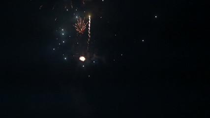 bright firework in night sky on dark sea