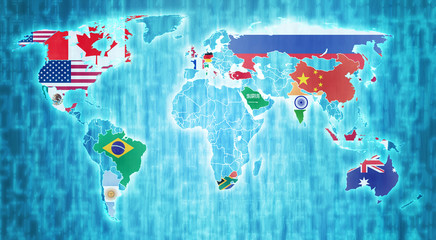 g20 countries on world map