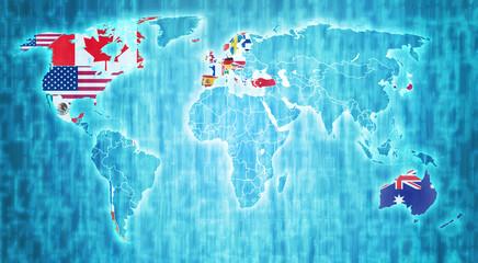 OECD territory on world map